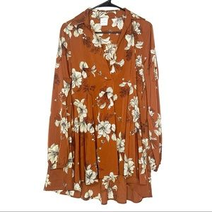 By Together High Low Rust Floral V-Neck Tunic L